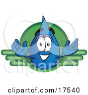 Clipart Picture Of A Water Drop Mascot Cartoon Character On A Green Business Logo by Toons4Biz