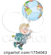 School Boy Floating With A Geography Balloon by Alex Bannykh