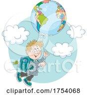 School Boy Floating With A Globe Balloon by Alex Bannykh