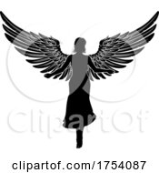 Poster, Art Print Of Angel Woman With Wings Silhouette