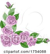 Rose Flower Border Woodcut Vintage Corner Frame by AtStockIllustration