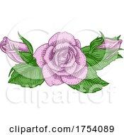 Rose Flower Design Woodcut Vintage Retro Style by AtStockIllustration