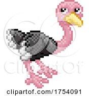 Ostrich Bird Pixel Art Safari Animal Cartoon