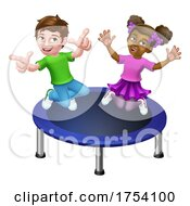 Kids Jumping On A Round Cartoon Trampoline by AtStockIllustration