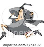 Cartoon Witch On The Run