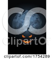 Spooky Pumpkin Halloween Background With Moon And Bats