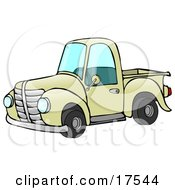 Old Fashioned Yellow Pickup Truck Clipart Illustration