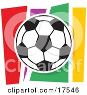 Black And White Soccer Ball Against A Colorful Background Clipart Illustration