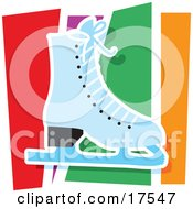 Blue Figure Skating Ice Skate Against A Colorful Background Clipart Illustration