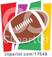 Brown Leather American Football Ball Against A Colorful Background Clipart Illustration
