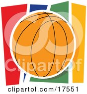 Orange Basketball Against A Colorful Background Clipart Illustration