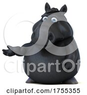 3d Chubby Black Horse On A White Background by Julos