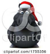 3d Chubby Black Christmas Horse On A White Background by Julos