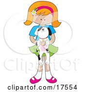 Clipart Illustration Of A Cute Little Red Haired Girl With A Daisy Flower On Her Pink Headband Holding An Adorable Black And White Dalmatian Puppy In Her Arms by Maria Bell