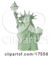 Green Statue Of Liberty Smiling And Holding The Torch High Above Her Head