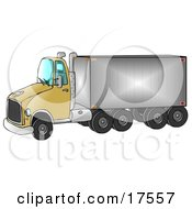 Clipart Ilustration Of A Yellow Big Rig Truck Pulling A Shiny Cargo Trailer by Dennis Cox