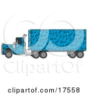 Blue Camouflage Semi Diesel Truck Pulling A Matching Cargo Trailer
