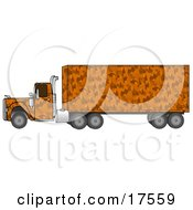 Clipart Illustration Of An Orange Camouflage Big Rig Truck Pulling A Matching Cargo Trailer by Dennis Cox