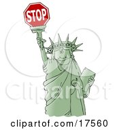 Clipart Ilustration Of A Green Statue Of Liberty Smiling And Holding The Torch High Above Her Head