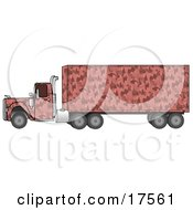 Clipart Illustration Of A Pink Semi Diesel Truck With A Pink Camo Pattern Pulling A Matching Cargo Trailer by Dennis Cox