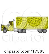 Clipart Illustration Of A Yellow Camo Big Rig Truck Pulling A Matching Cargo Trailer by Dennis Cox