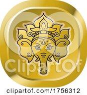 Gold Indian Elephant God Ganesha Icon