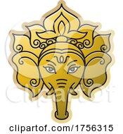 Indian Elephant God Ganesha In Gold