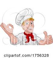 Chef Cook Baker Man Cartoon Peeking Over Sign