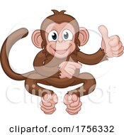 Poster, Art Print Of Monkey Cartoon Animal Thumbs Up And Pointing