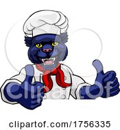 Poster, Art Print Of Panther Chef Mascot Sign Cartoon Character