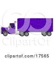 Clipart Illustration Of A Purple Camo Semi Diesel Truck Pulling A Matching Cargo Trailer by djart
