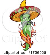 Flaming Green Jalapeno Pepper Wearing A Sombrero