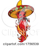 Flaming Red Pepper Wearing A Sombrero