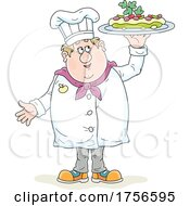Poster, Art Print Of Chef Holding Up A Platter