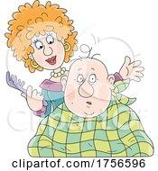 Woman Cutting Her Husbands Nearly Bald Head