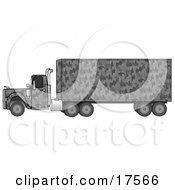 Clipart Illustration Of A Gray Camouflage Big Rig Truck Pulling A Matching Cargo Trailer by djart
