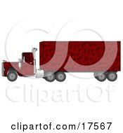 Clipart Illustration Of A Red Camouflage Big Rig Truck Pulling A Matching Cargo Trailer by Dennis Cox