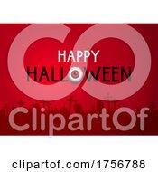 Happy Halloween Background With Graveyard And Eyeball