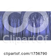 3D Halloween Landscape With Foggy Forest