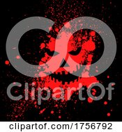 Creepy Halloween Jackolantern Face In Blood Splatter