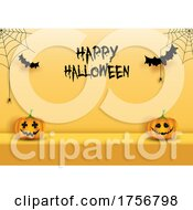 Spiders Jackolanterns And Bats Halloween Background