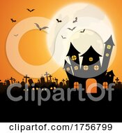 Halloween Landscape Background With Spooky House
