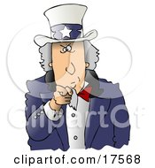 Clipart Ilustration Of A Stern Uncle Sam Wearing A Hat With Stars On It And A Blue Jacket Pointing Outwards At The Viewer by Dennis Cox