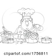 Poster, Art Print Of Black And White Chubby Baker Making A Cake
