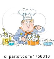 Poster, Art Print Of Chubby Baker Making A Cake
