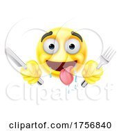 Poster, Art Print Of Drooling Hungry Emoticon Knife Fork Cartoon Face
