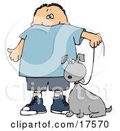 Clipart Illustration Of A Little Caucasian Boy Walking His Grey Mutt Dog On A Leash