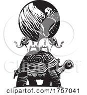 Woodcut Style Earth Turtle