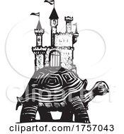 Woodcut Style Castle Turtle