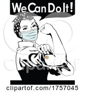 09/24/2021 - Masked And Vaccinated Rosie The Riveter Flexing And We Can Do It Text